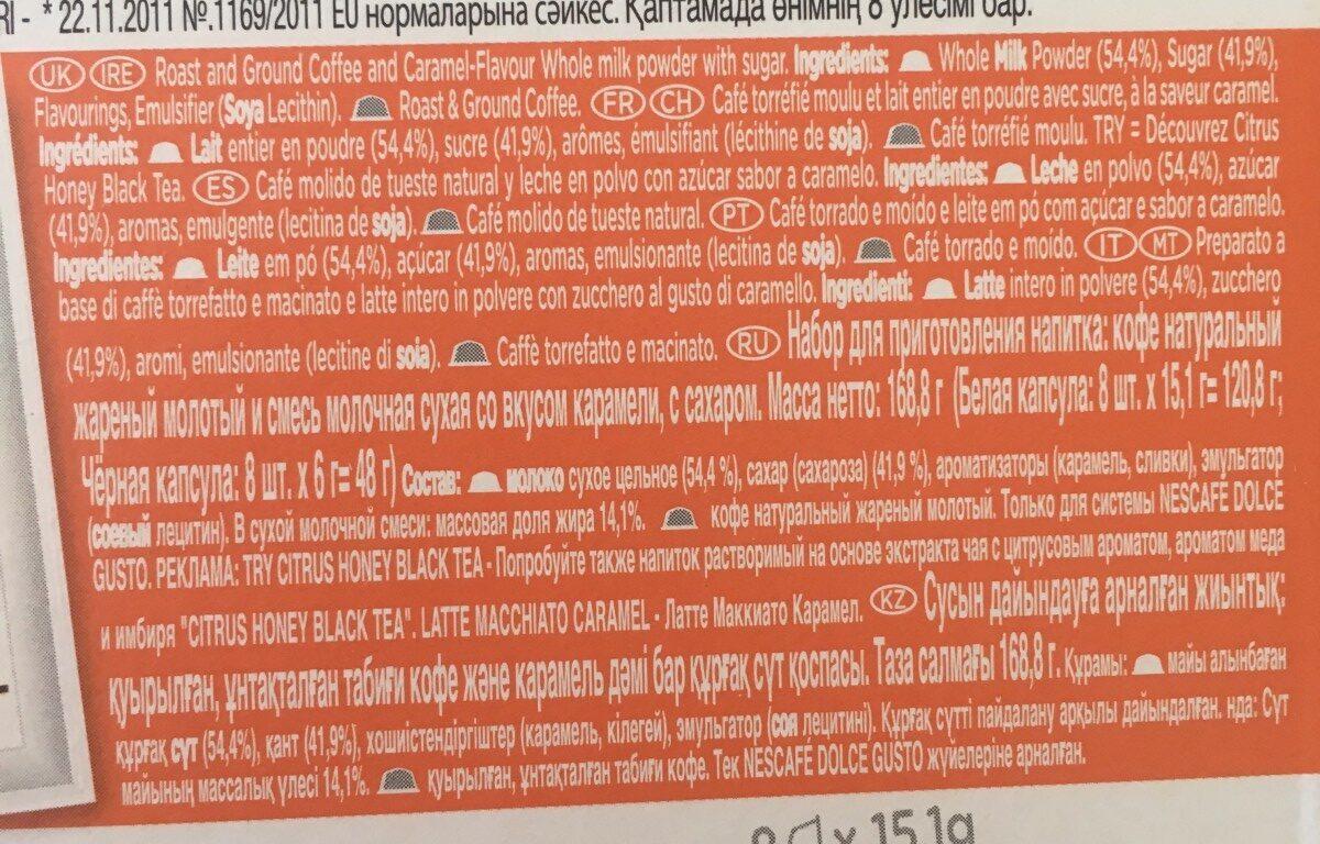 D.gus Latt Macc Caramel Nescafe - Ingredients - fr