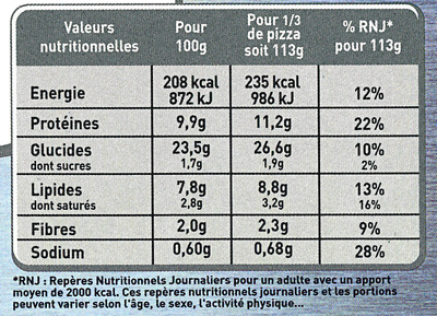 Pizza Sensazione Thon - Nutrition facts - fr