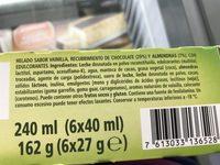Minibombón almendrado de helado de vainilla sin - Ingrediënten