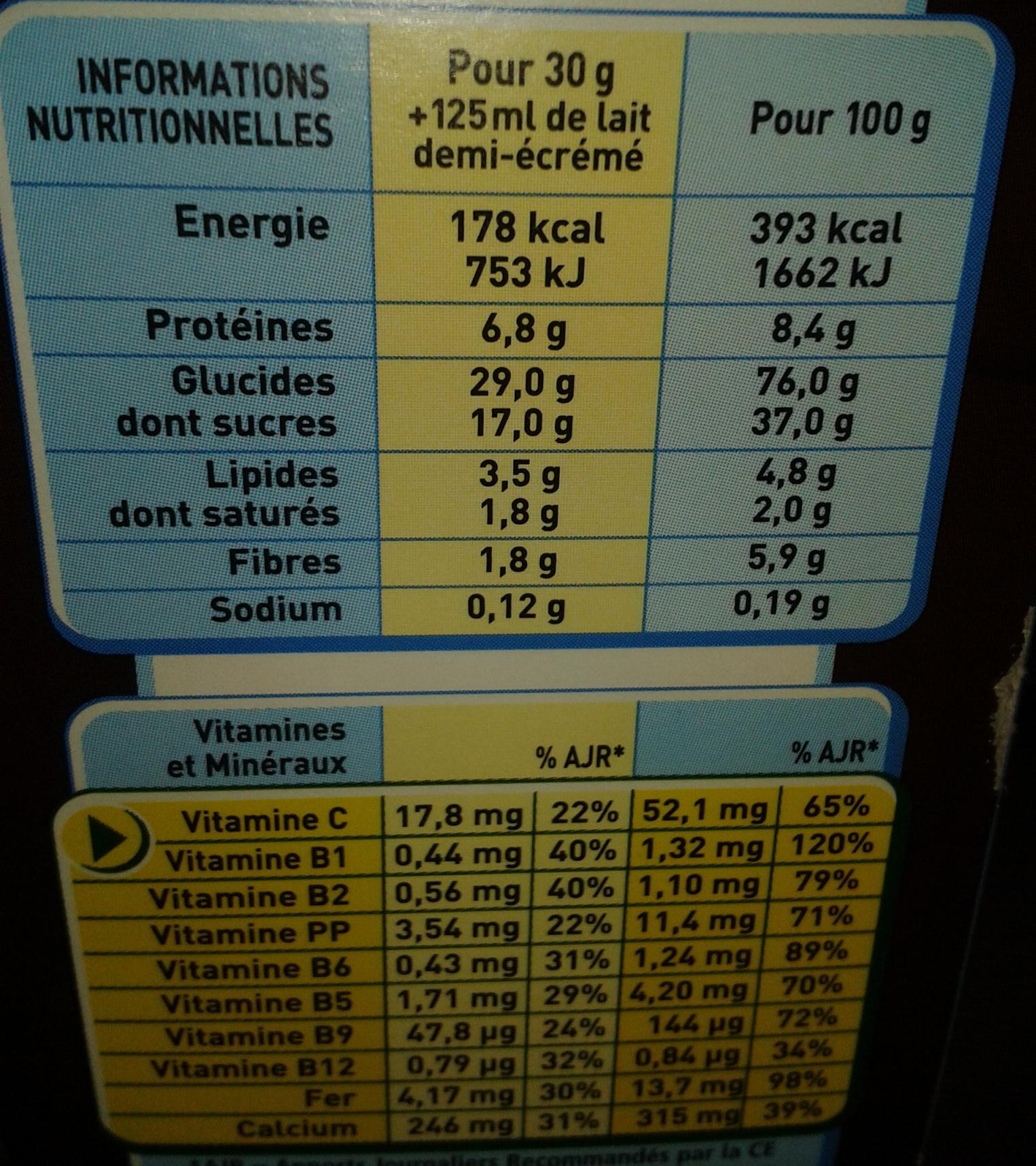 Chocapic (nouvelle recette) - Información nutricional