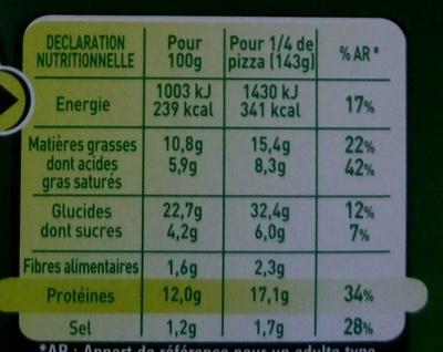 La Grandiosa 4 Formaggi - Informations nutritionnelles