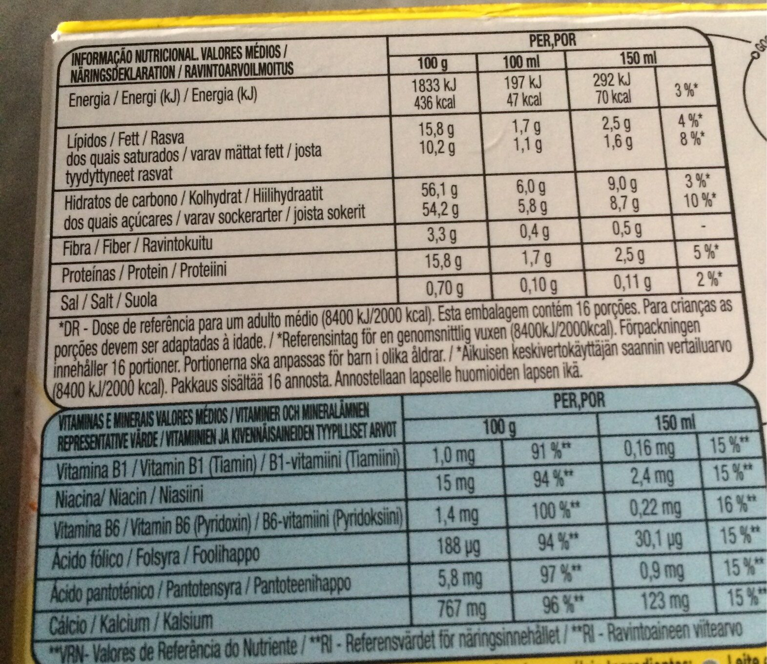 Dolce Gusto Nesquik - 16 Capsules - Información nutricional - es