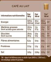 Dolce Gusto Café Au Lait - Nutrition facts - fr