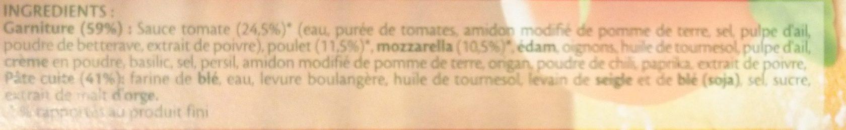 Pizza Four à Pierre - Poulet, Mozzarella et Sauce Façon Pesto - Ingredients
