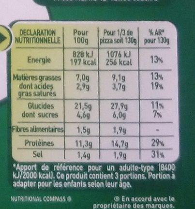 Pizza Four à Pierre - Poulet, Mozzarella et Sauce Façon Pesto - Nutrition facts