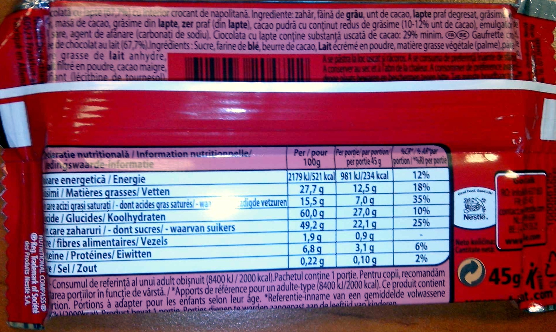 Kit Kat - Nutrition facts - ro