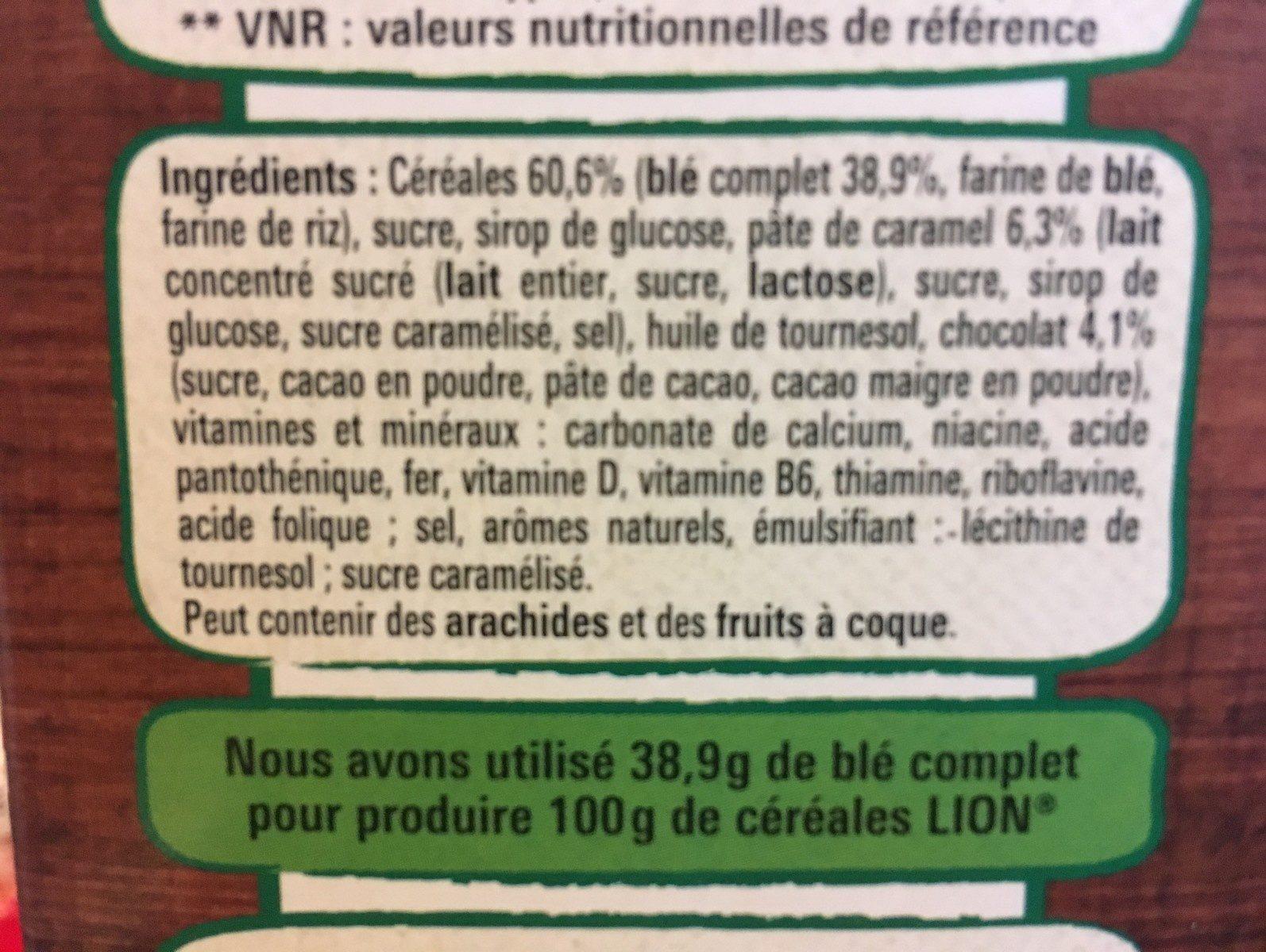 Lion caramel & chocolat - Ingredientes