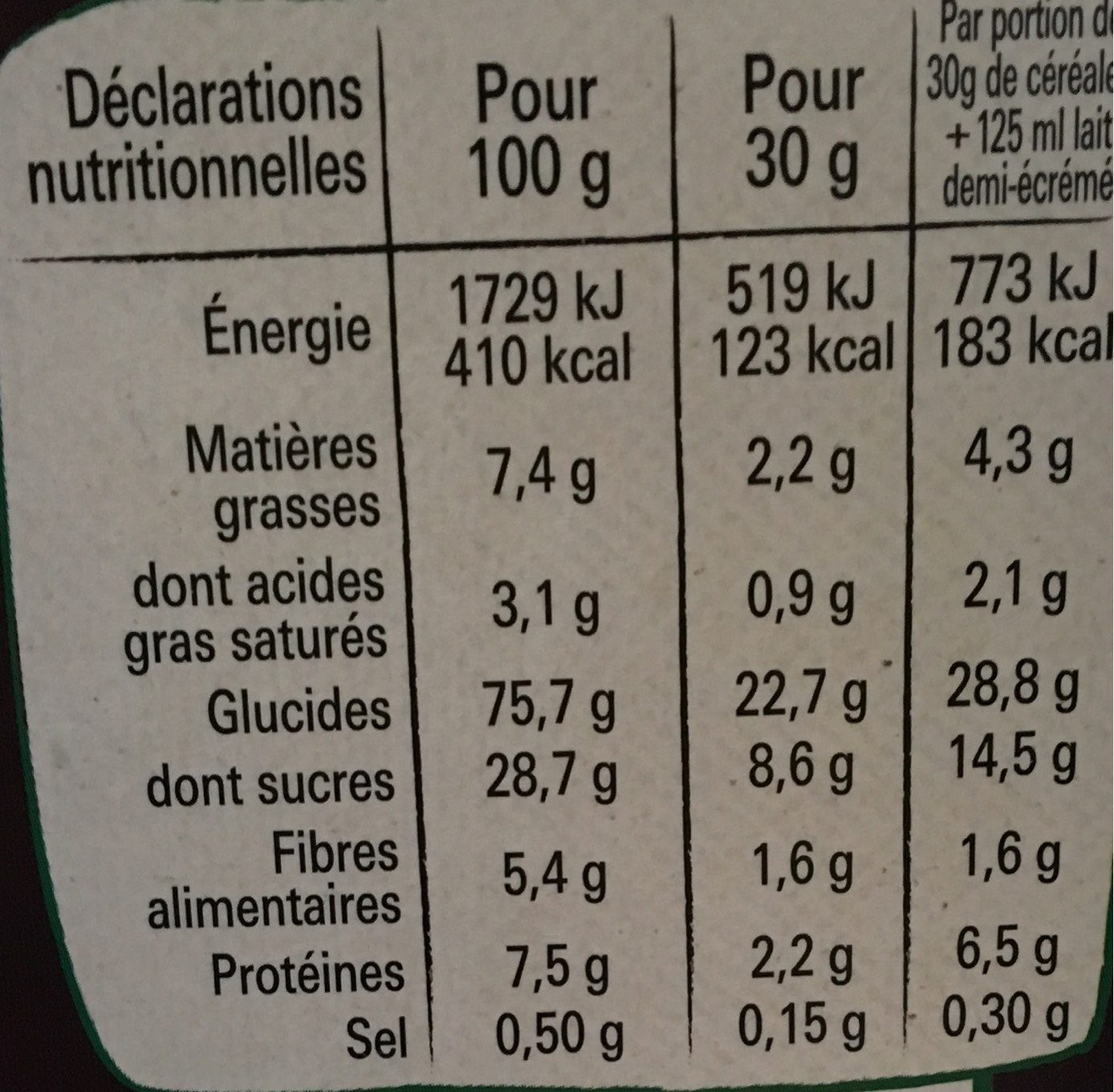 Lion caramel & chocolat - Nutrition facts - fr