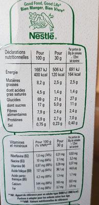 FITNESS Céréales chocolat noir - Informations nutritionnelles - fr
