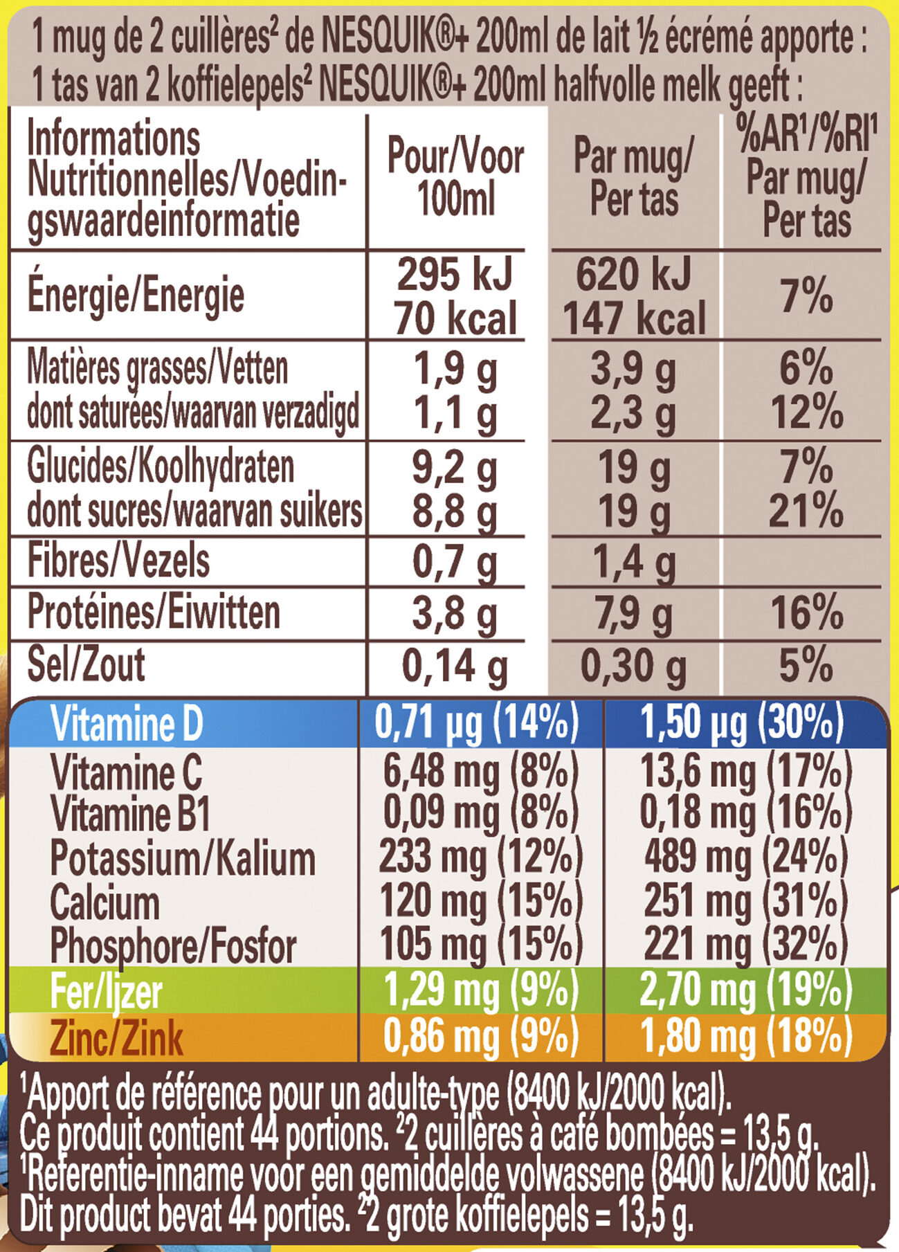 NESQUIK Gout EXTRA CHOCO Poudre Cacaotée boîte - Valori nutrizionali - fr