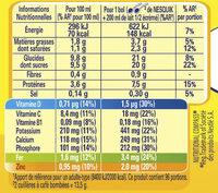NESQUIK Poudre Cacaotée boîte 1,3kg - Valori nutrizionali - fr