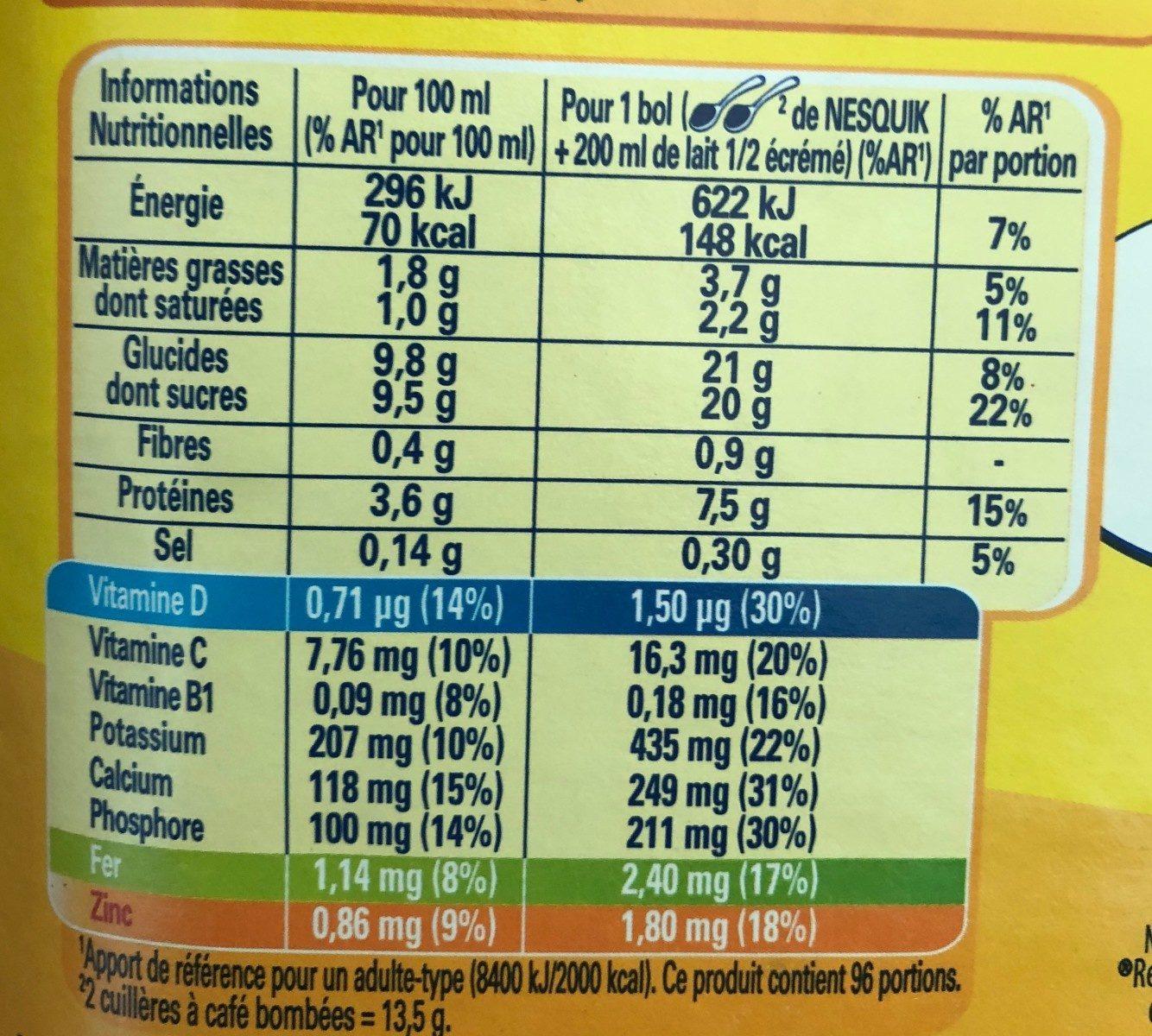 NESQUIK Poudre Cacaotée boîte - Informations nutritionnelles - fr