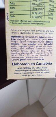 Papilla de cereales - Ingrediënten