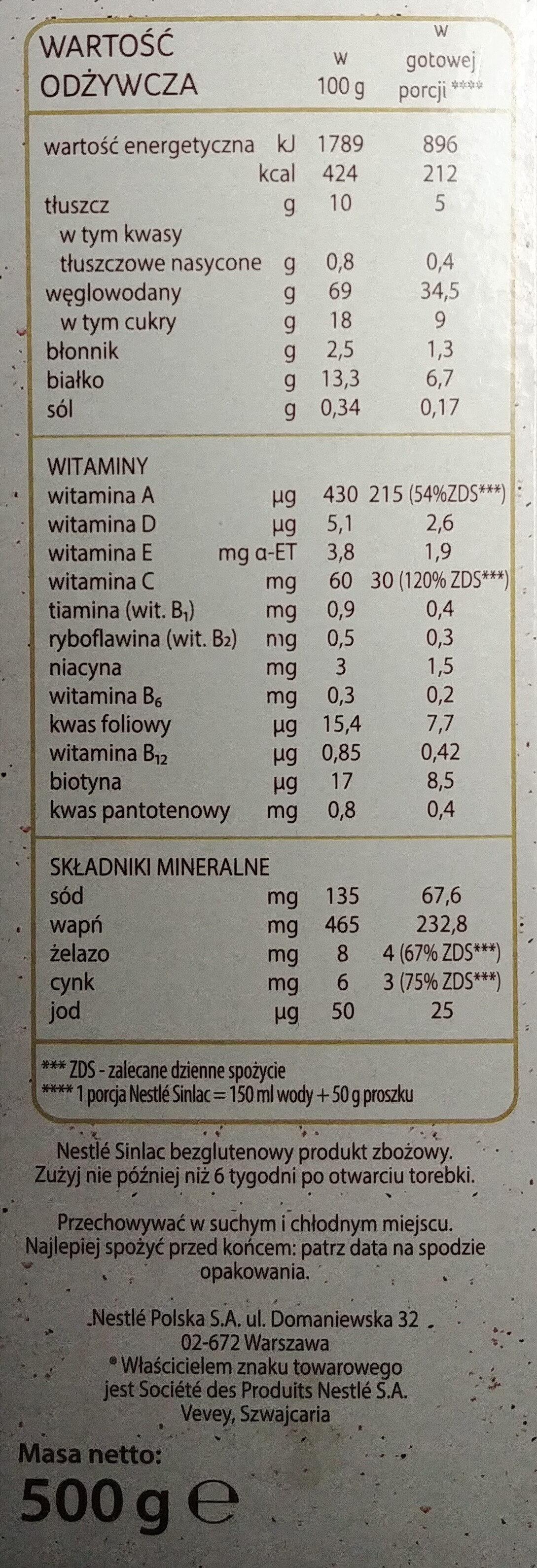 Bezglutenowy produkt zbożowy. - Wartości odżywcze - pl