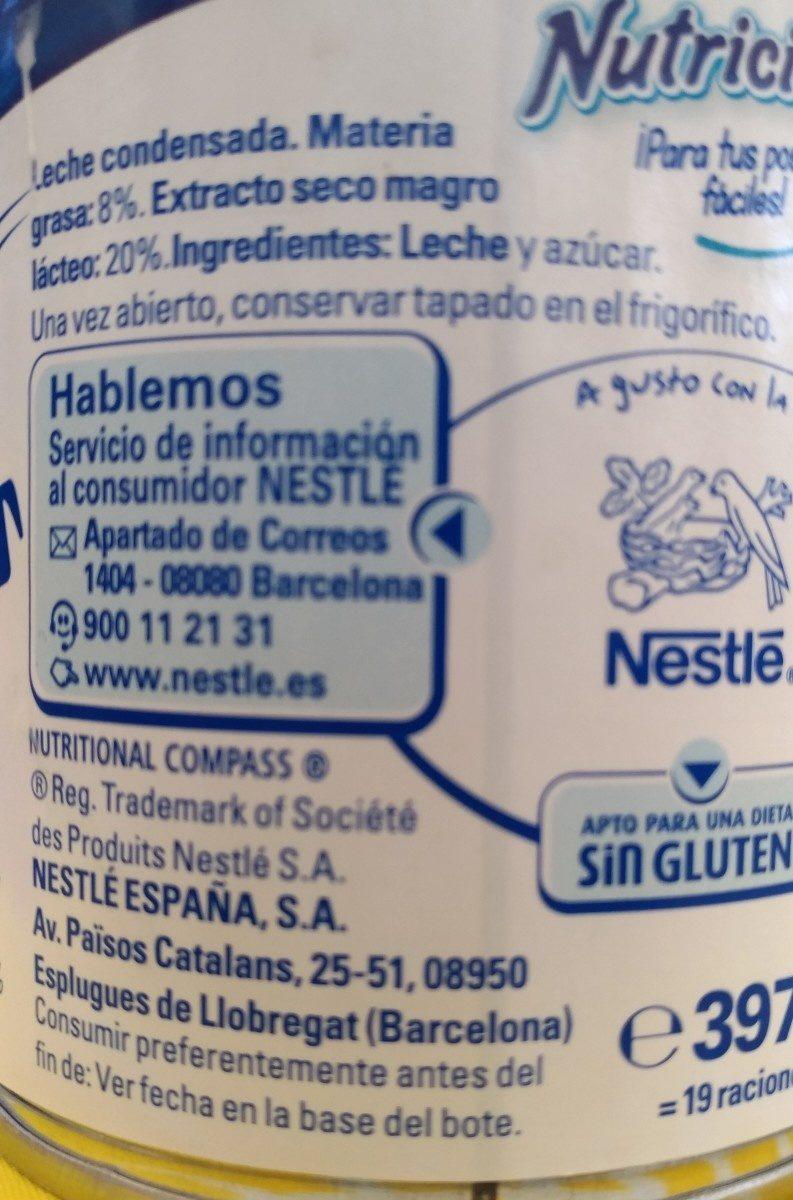 Leche condensada entera - Ingrédients - fr