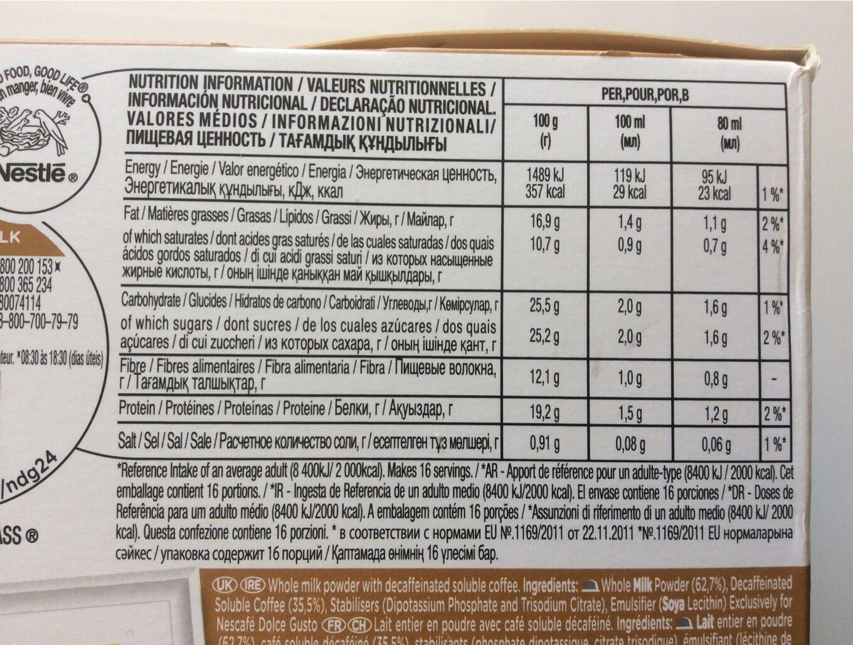 Dolce Gusto cortado decaffeinato - Nutrition facts - fr