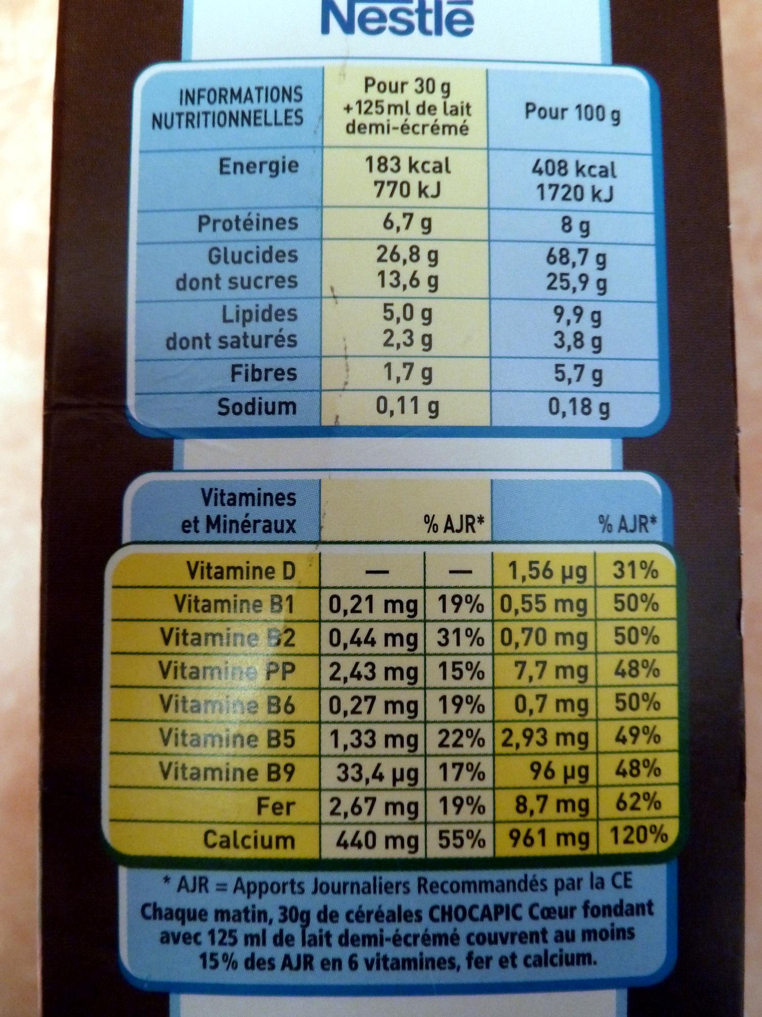 Chocapic Coeur fondant - Maxi format - Informations nutritionnelles - fr