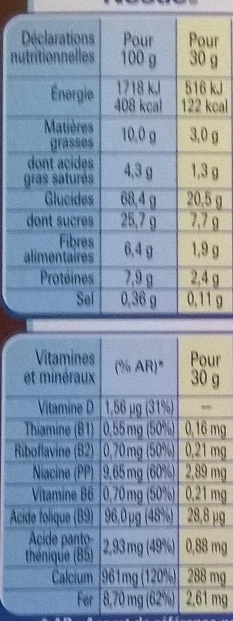 Chocapic Cœur Fondant - Informations nutritionnelles