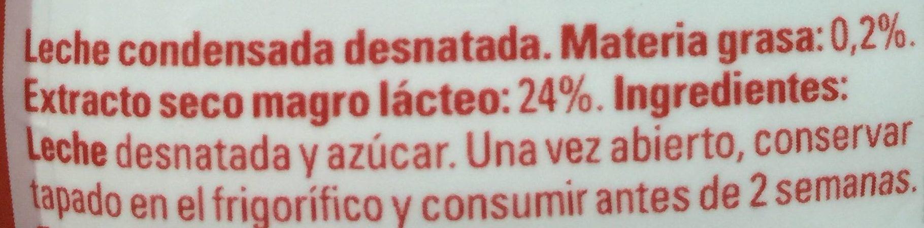 Leche condensada desnatada Nutricia - Ingrédients - es