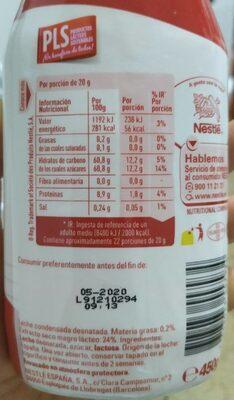Leche condensada desnatada Nutricia - Informations nutritionnelles - es