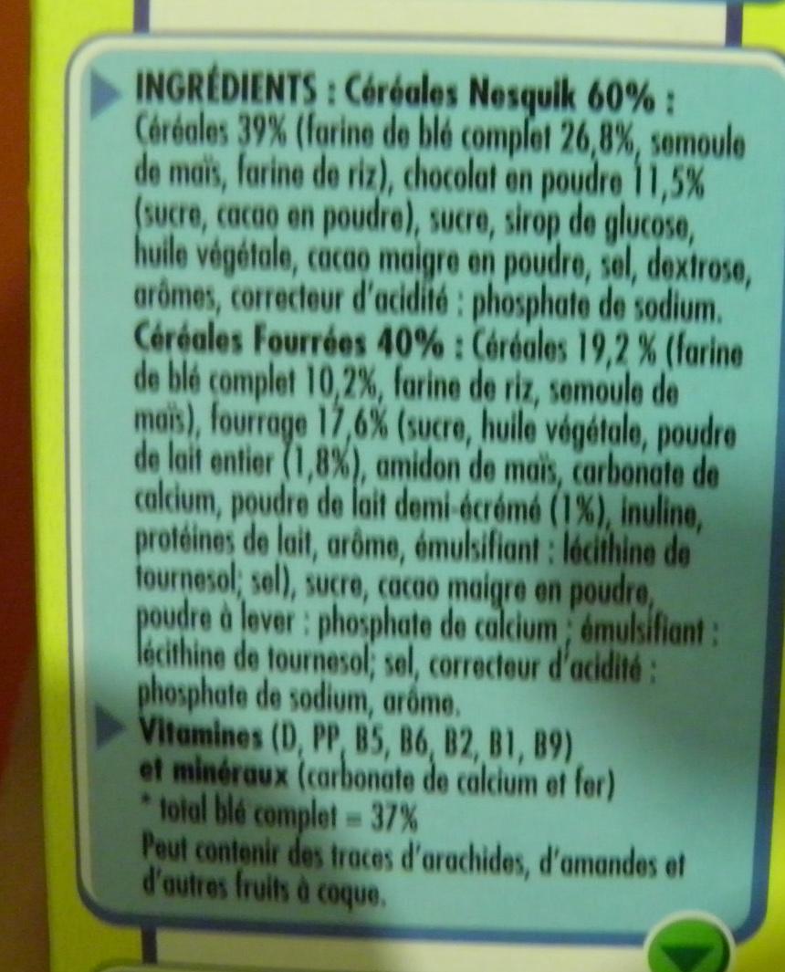 Nesquik Coeur Lacté - Ingredients - fr
