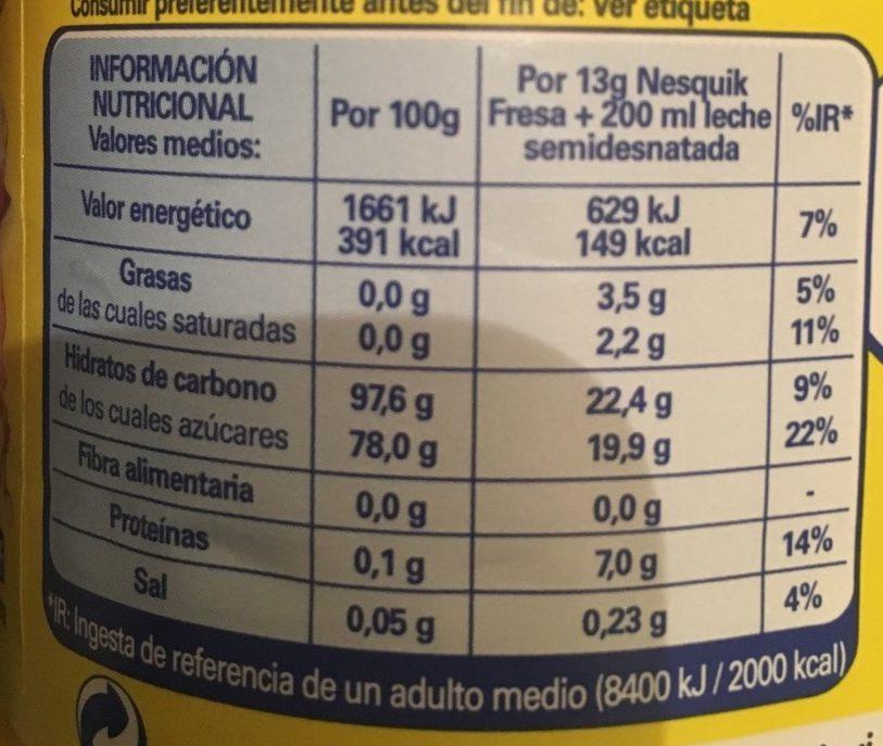 Nesquik Sabor Fresa - Información nutricional