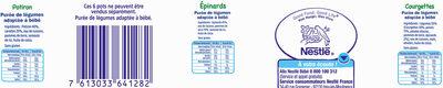 NESTLE NATURNES Petits Pots Bébé Courgettes + Epinards + Potiron -6x130g -Dès 4/6 mois - Valori nutrizionali - fr