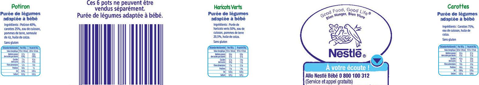 NESTLE NATURNES Petits Pots Bébé Carottes + Haricots Verts + Potiron -6x130g -Dès 4/6 mois - Valori nutrizionali - fr