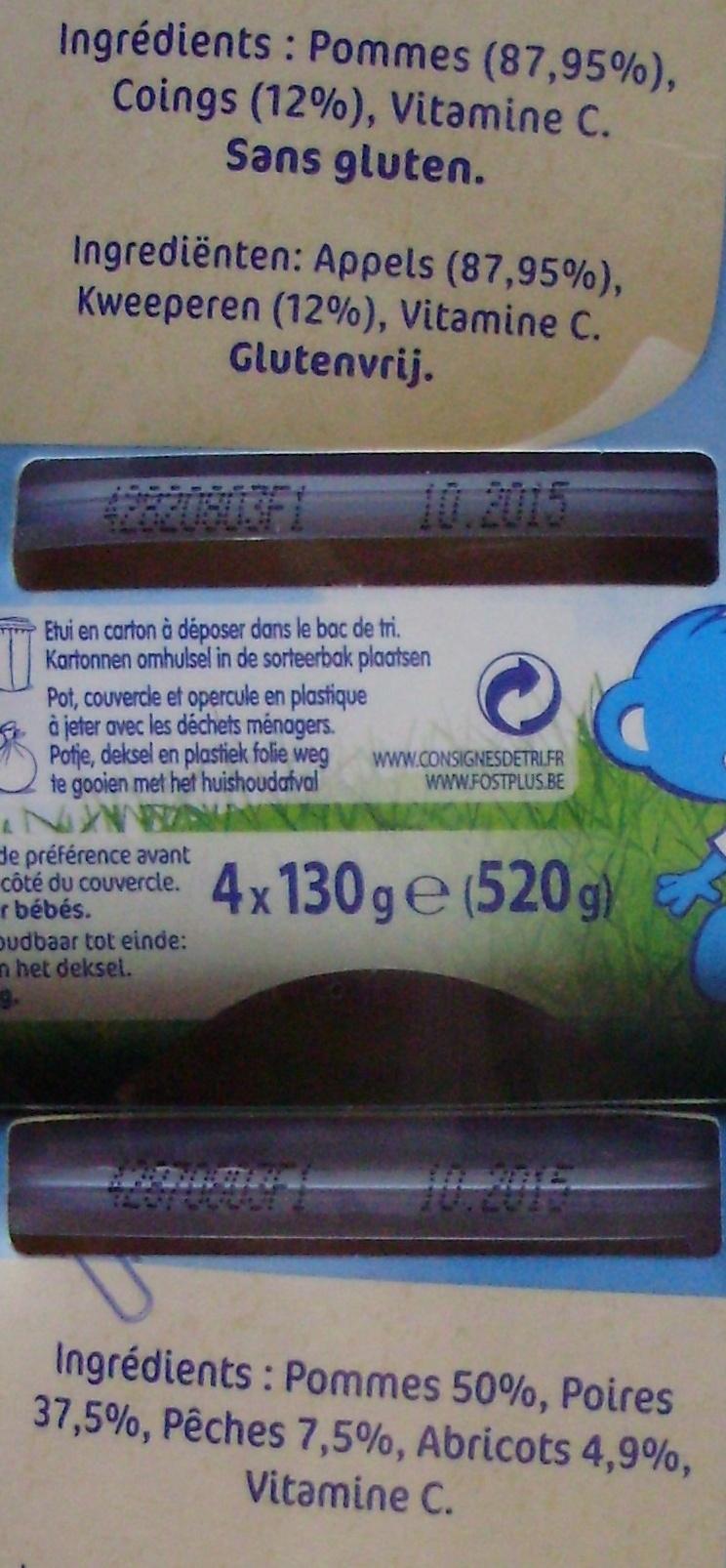 NaturNes Pommes Coings (x 4), Fruits du Verger (x 4) Lot de 8 Pots [Lot composé des articles 7613031552139 et 7613031552344] - Ingredients
