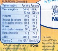 """Postre de frutas """"Nestlé"""" 6 frutas con galleta - Voedingswaarden - es"""