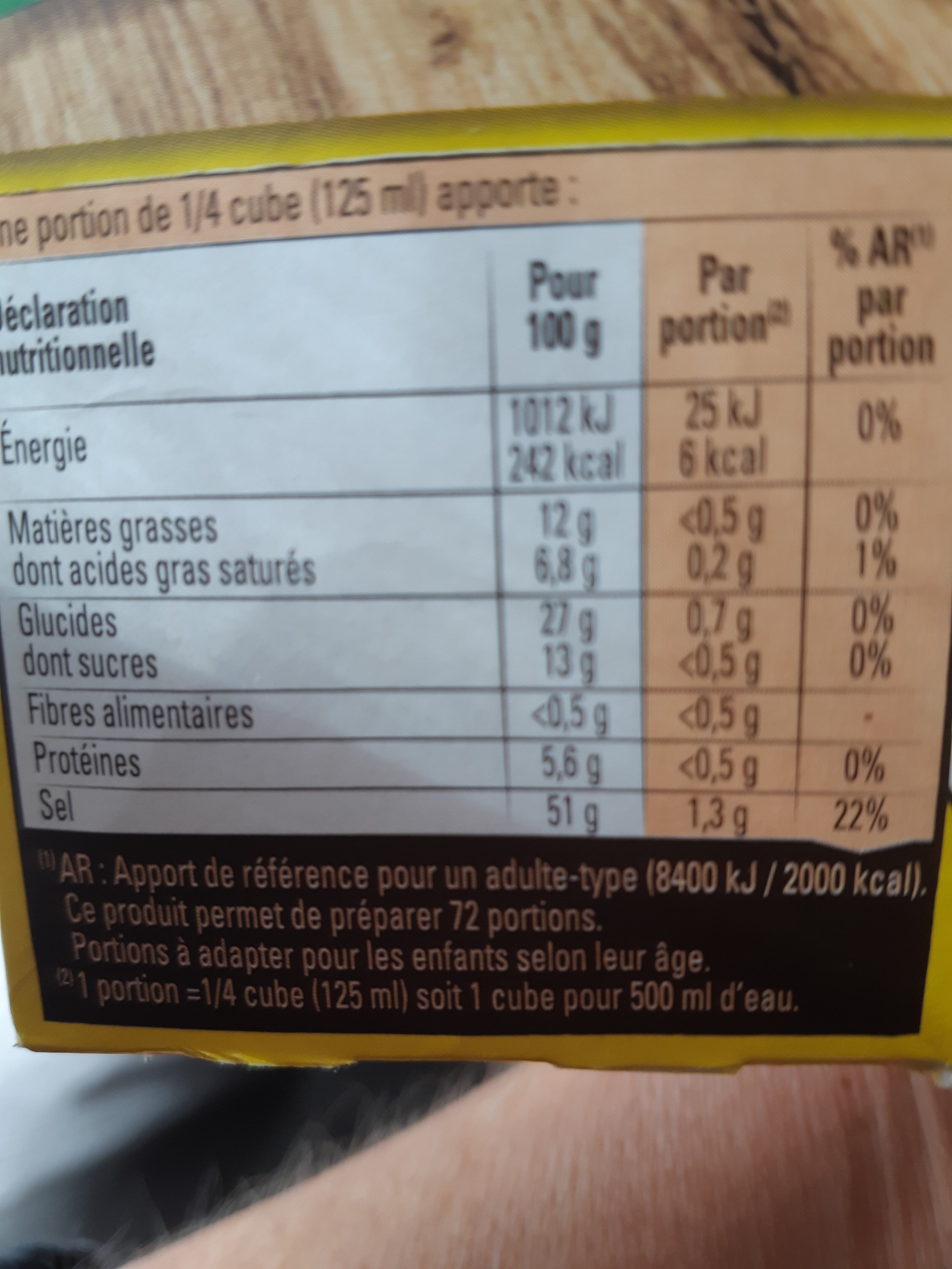 MAGGI Bouillon KUB Volaille - Nutrition facts - fr