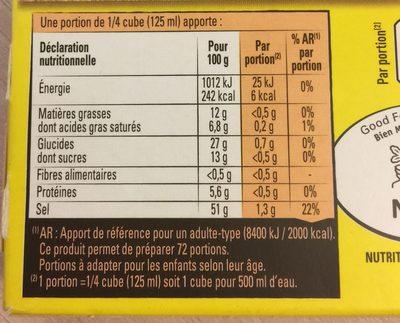 Bouillon Kub Volaille (x18) - Nutrition facts