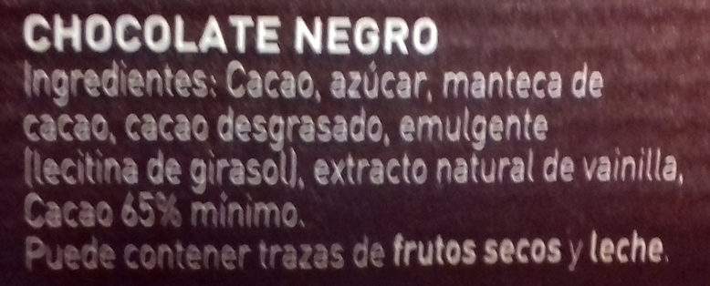 Chocolate negro para repostería Intenso 65% cacao - Ingredients
