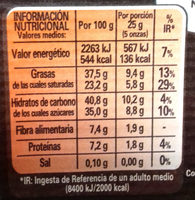 Chocolate negro para repostería Intenso 65% cacao - Nutrition facts