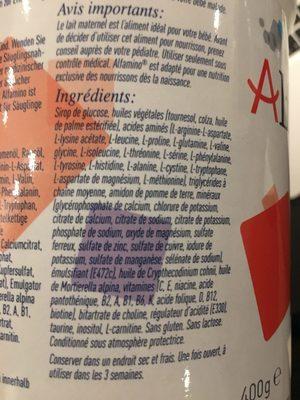 Alfamino 400G Dose 6 ST - Ingrediënten - fr