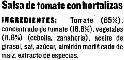 """Salsa napolitana """"Solís"""" - Ingrediënten"""