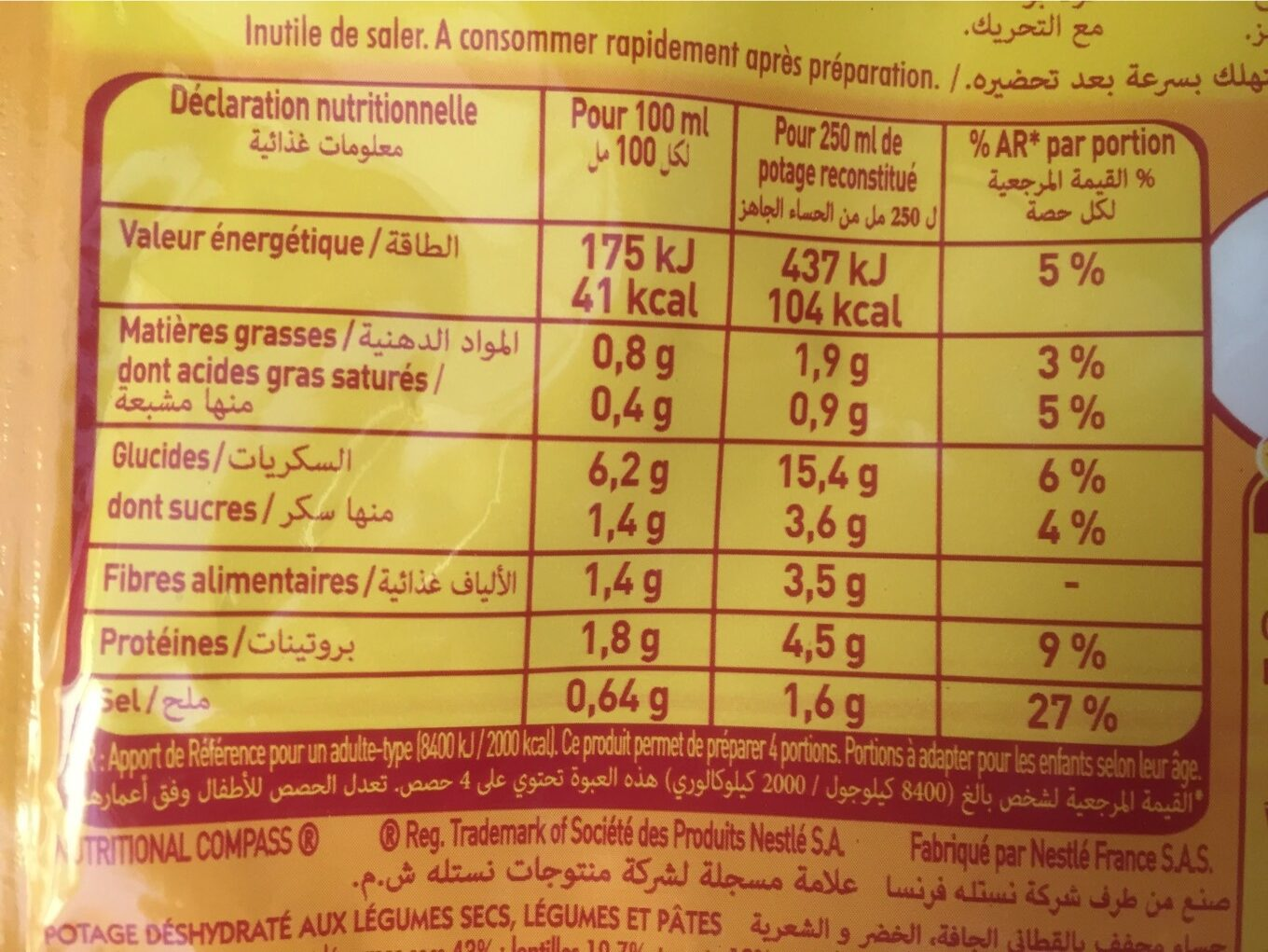 Harira - Nutrition facts