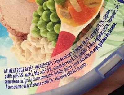 NaturNes Jardinière de légumes, Veau et tendre blé - Ingrediënten