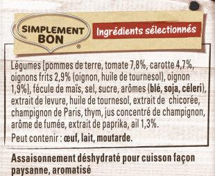 Papillotes Poulet façon paysanne - Ingrediënten - fr