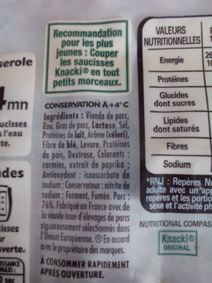 Knacki - 100% pur porc - Saucisses de Strasbourg - Ingredienti - fr