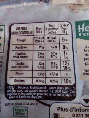 Knacki - 100% pur porc - Saucisses de Strasbourg - Valori nutrizionali - fr