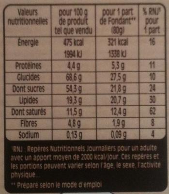 Nestlé - Desserts - Fondant au Chocolat - Informations nutritionnelles