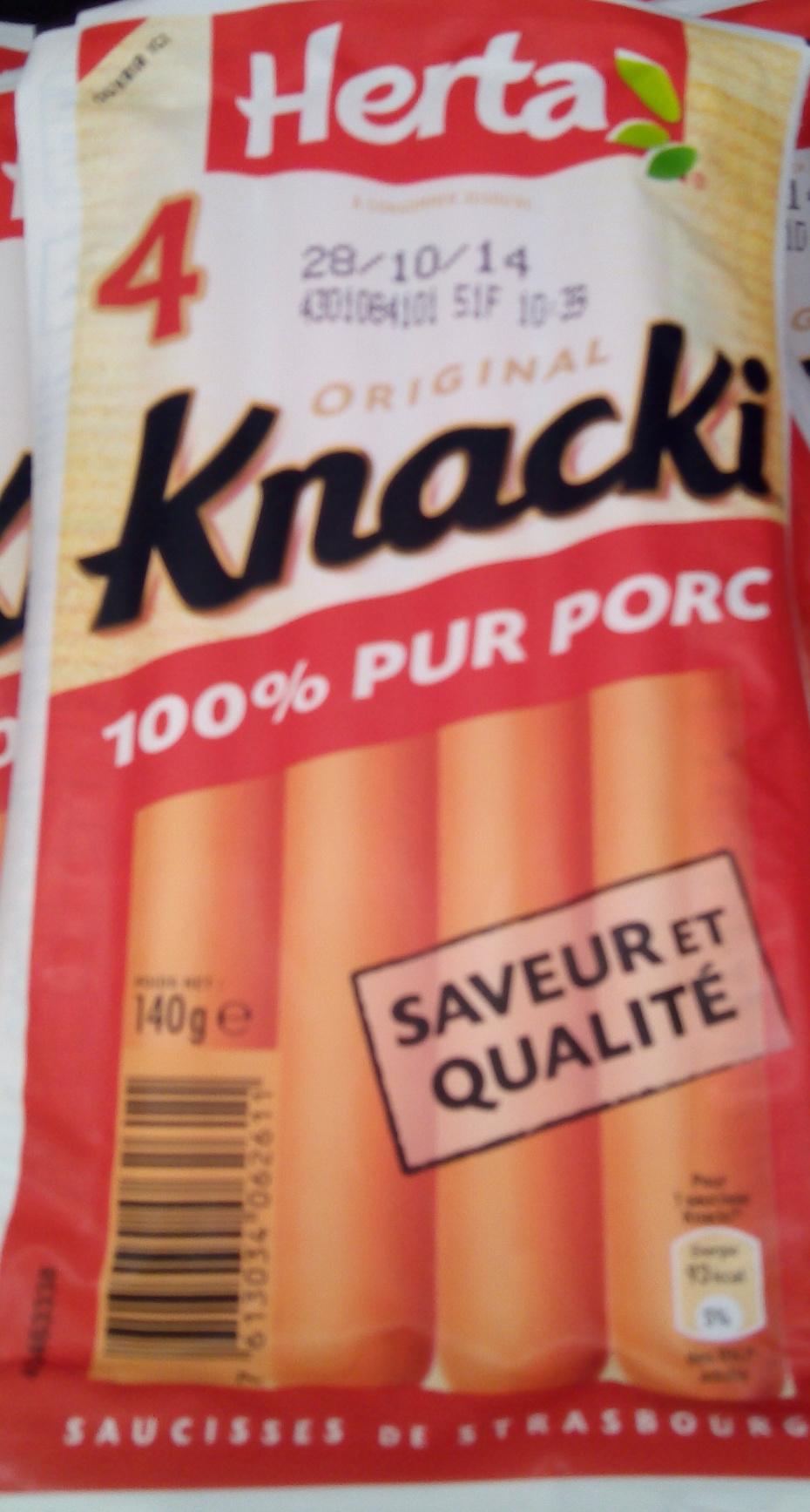 4 Original Knacki, 100 % Pur Porc - Produit - fr