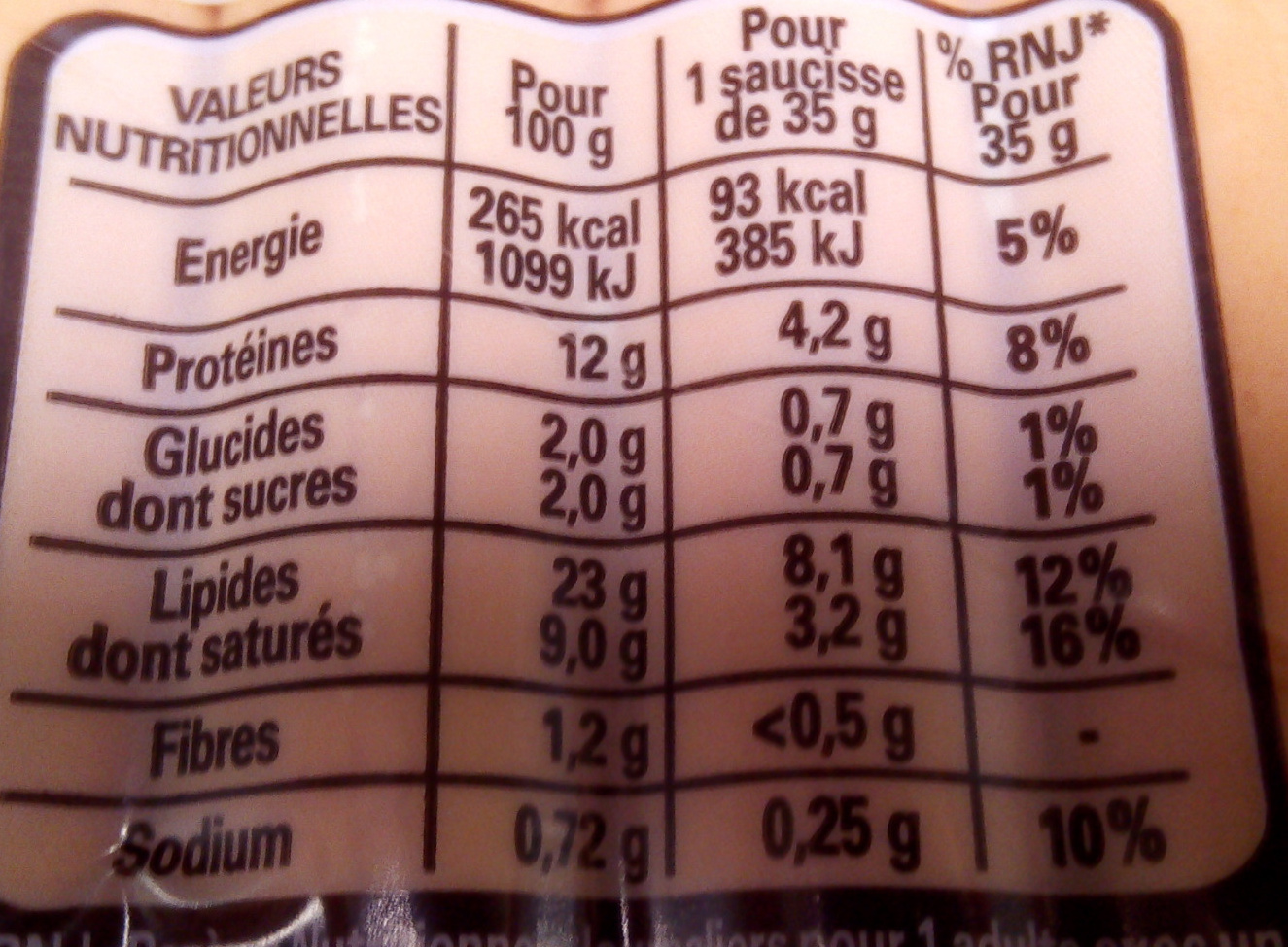 4 Original Knacki, 100 % Pur Porc - Informations nutritionnelles - fr