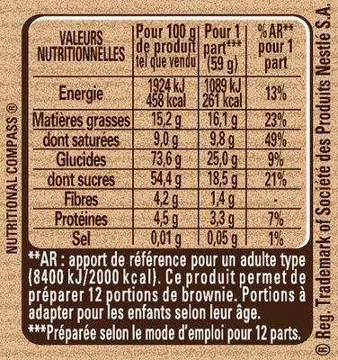 Préparation pour Brownie au Chocolat - Voedingswaarden - fr