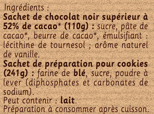 Préparation pour Cookies au Chocolat - Ingrédients - fr