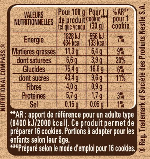 Préparation pour Cookies au Chocolat - Informations nutritionnelles - fr