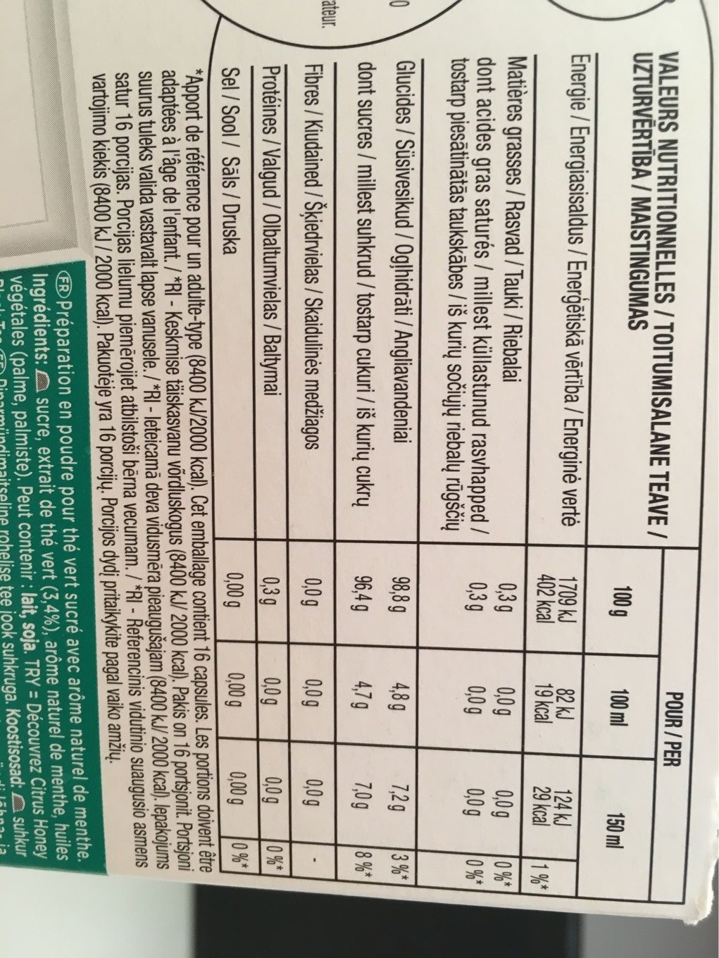Dolce Gusto Marrakech Tea - Nutrition facts