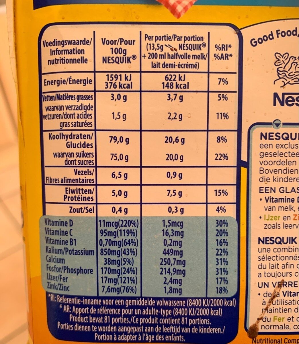 Nesquik - Family pack - Nutrition facts - fr