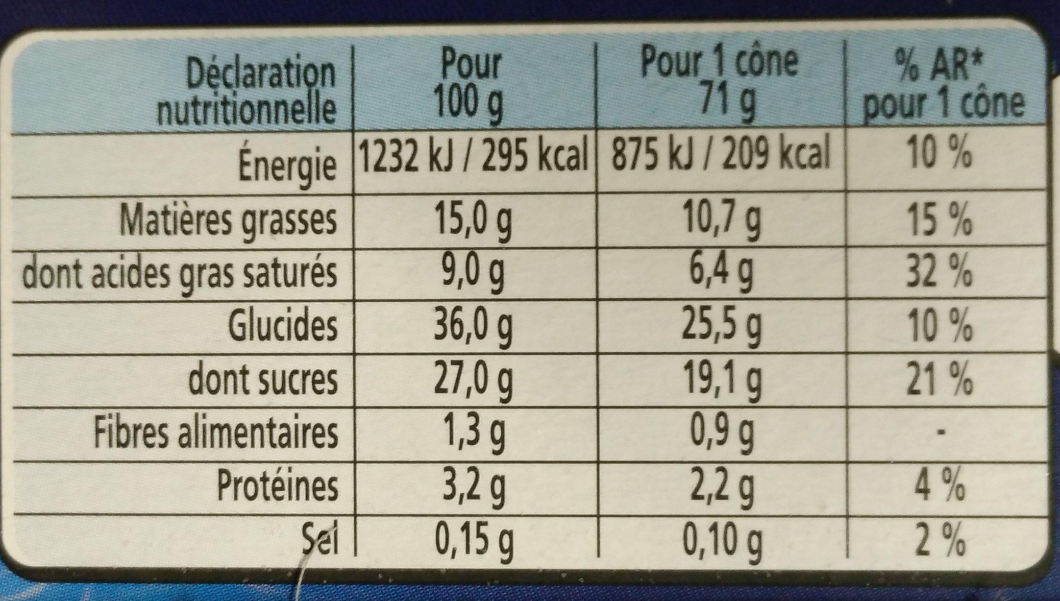 Extrême Original Cône Vanille Praliné - Informations nutritionnelles